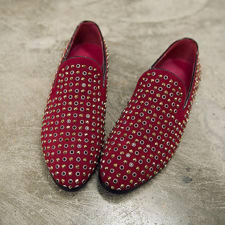 mssefn2015韩国男鞋 新款铆钉套脚船鞋 烫钻时尚乐福鞋X1221