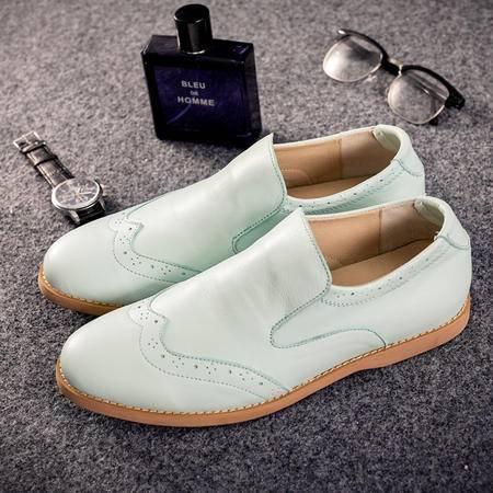 mssefn2015新款 日系港风头层牛皮套脚雕花乐福潮鞋 6068