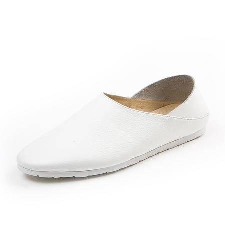 mssefn2015夏季单鞋懒人鞋休闲皮鞋男鞋透气套脚鞋韩国潮男牛皮休闲鞋0261