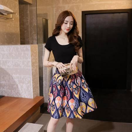 mssefn2015夏季新款韩版气质圆领短袖拼接印花短裙套装时尚修身连衣裙YXY1677