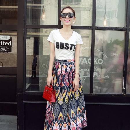 Mssefn2015夏季新品韩版字母棉T印花气质长裙两件套连衣裙女YXY1679