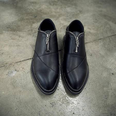 mssefn2015欧美大牌韩版头层牛皮时尚个性拉链尖头皮鞋套脚潮鞋男E06-1