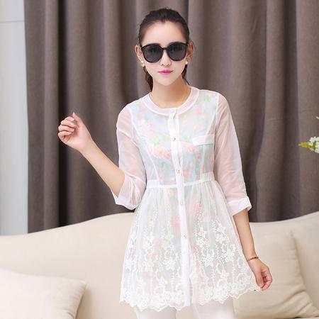 mssefn夏装新款女装韩版蕾丝大码防晒衣七分袖防晒服长款开衫外套171P80