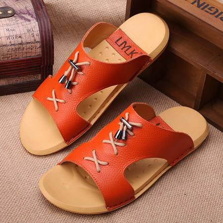 mssefn2015夏日新款男士防滑凉拖沙滩凉鞋 韩版潮流时尚头层牛皮拖鞋x572