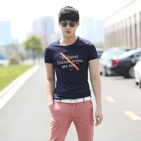 Mssefn2015夏季新品 潮男必备 时尚印花 男士修身短袖T恤 9130