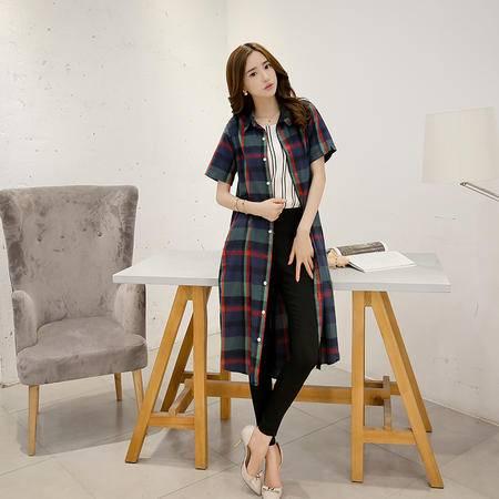 Mssefn2015夏装新款韩版文艺范休闲格子衬衫长款连衣裙英伦风潮G105