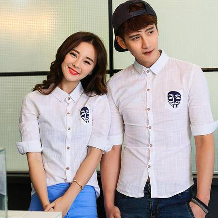 mssefn2015夏季新款清爽麻料印花情侣七分袖衬衫 中袖衬衣8441