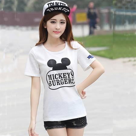 mssefn大码女装夏季短袖T恤女式 卡通日系小熊情侣装男女装学生半袖班服