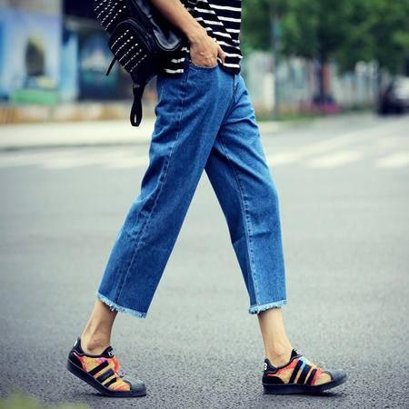 mssefn 2015今年最流行韩版宽松阔腿九分裤男日系八分牛仔裤
