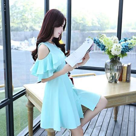 Mssefn2015夏装韩版女装时尚甜美纯色露肩袖拼接荷叶袖修身公主裙1170