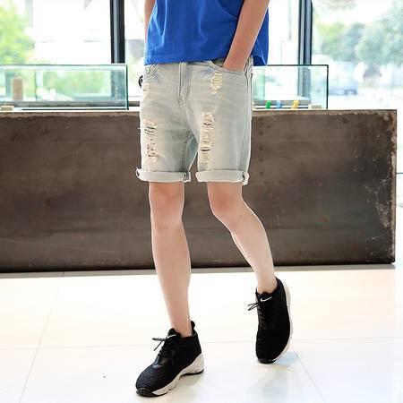 Mssefn2015夏日新款简单必备破洞款 牛仔短裤潮N01