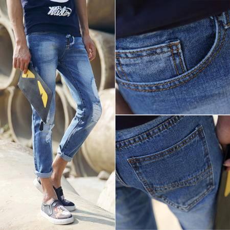 Mssefn2015韩版牛仔裤 大破洞牛仔裤 小脚裤子 九分裤A123-372