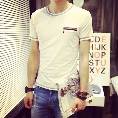 Mssefn2015夏装新款 店主风男士港风拉链男士圆领T恤 男潮825-B70