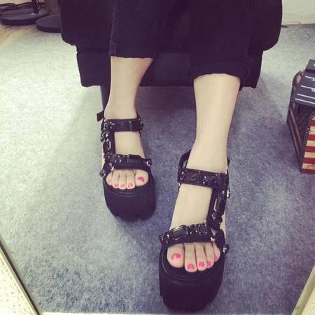 Mssefn2015黑钻魔术贴高跟凉鞋 韩版女鞋X552