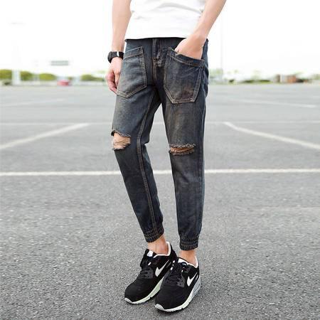 休闲奇芭 2015夏季新款深色 水洗破洞牛仔 修身小脚 9分裤N97