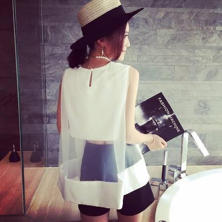mssefn2015夏装新款洋气性感欧根纱拼接露腰无袖上衣7359F48