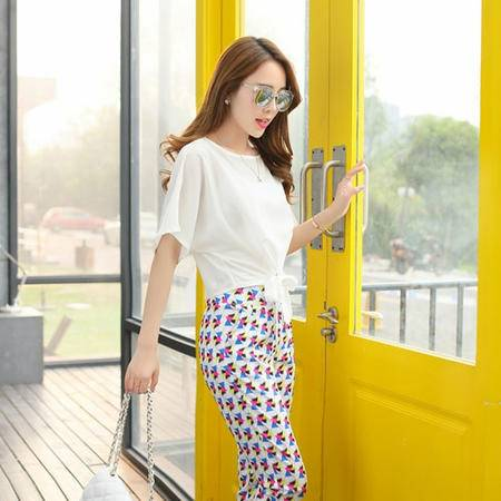mssefn夏季新品韩版修身短袖雪纺T恤女印花小脚裤休闲两件套751P90