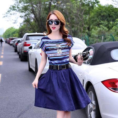 mssefn2015夏装新款时髦彩条连衣裙 B8852P90