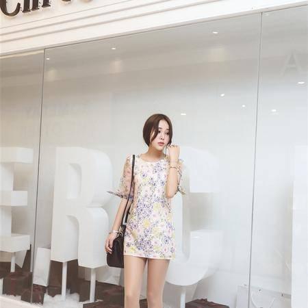 mssefn2015夏装新款韩版女装碎花短袖连衣裙子短裙2185P75