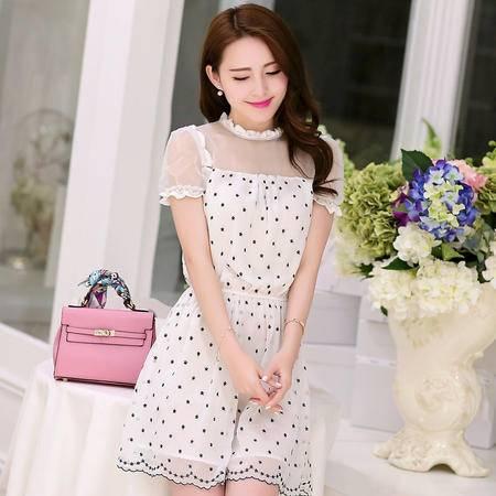 mssefn2015新款夏装韩版女装短袖蕾丝拼接刺绣连衣裙气质名媛G302P100