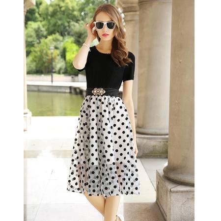 mssefn2015夏季新款韩版欧根纱圆点短袖拼接中长裙连衣裙女装G312P120