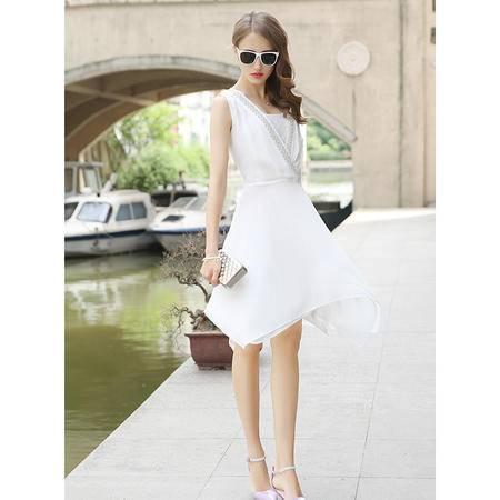 mssefn雪纺连衣裙女两件套装2015夏季潮韩版无袖背心裙配抹胸G305P110