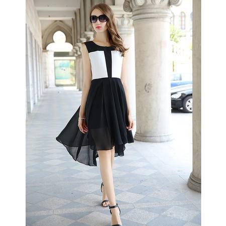 mssefn夏新款雪纺无袖连衣裙中长款修身不规则长裙背心燕尾裙女G316P120