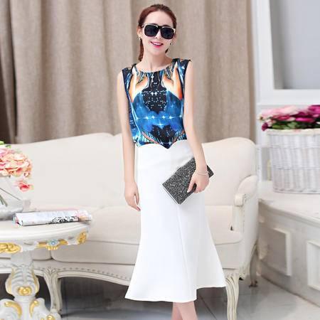 mssefn2015夏季两件套连衣裙韩系时尚名媛修身印花短袖长裙套装G290P105
