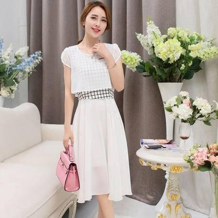 mssefn2015夏天新品修身连衣裙韩系中长裙沙滩雪纺长裙假两件395P85