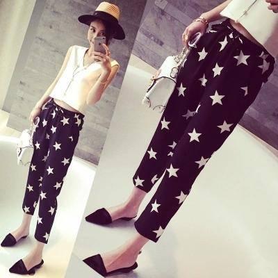 mssefn2015夏装新款时尚洋气街拍撞色星星显瘦哈伦裤2031F42
