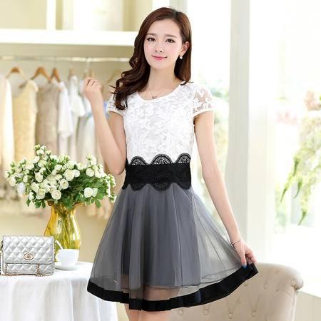 mssefn夏季新品韩版女装欧根纱绣花淑女气质修身蕾丝连衣裙潮130632P145