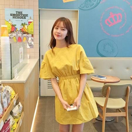 mssefn2015夏韩版小清新收腰显瘦短袖棉麻连衣裙8309-Q022-P50