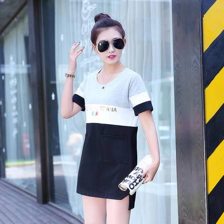 mssefn2015夏新款女装韩版字母印花T恤圆领短袖宽松中长款上衣111P70