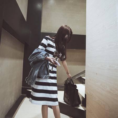 Mssefn2015夏装新款韩版女装圆领条纹印花连衣裙子中长款连衣裙6058P85