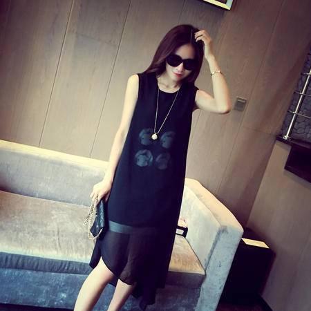 mssefn2015夏装新款韩国修身时尚无袖不规则斜边连衣裙女 4400F60