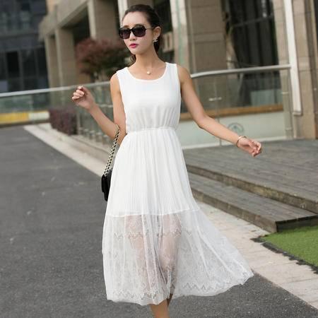 mssefn2015夏季女装新款简约圆领无袖修身优雅甜美连衣裙长裙51711P95