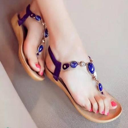 休闲奇葩2015波西米亚风 串珠 平跟平底 露趾夹脚 凉鞋 WZ4-8819