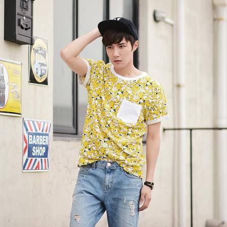 mssefn2015夏装新款第二波个性香蕉印花设计圆领短袖T恤C1333-45
