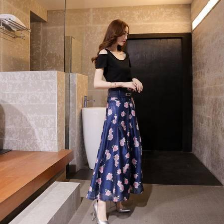 mssefn2015夏装新款韩版女装露肩印花连衣裙长裙最低135 756P100