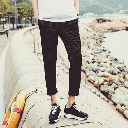mssefn2015夏装新款个性显瘦竖条纹设计男士休闲九分裤C1309-75