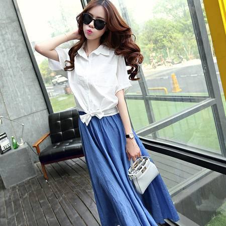 Mssefn2015夏新款韩版女装短袖衬衫 大摆棉麻长裙两件套213