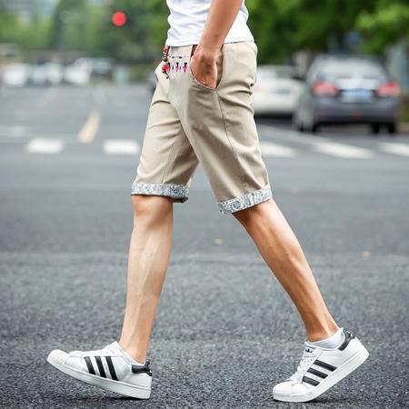 Mssefn2015男士刺绣亚麻裤短裤男五分裤夏天5分棉麻男中裤子大码K1537