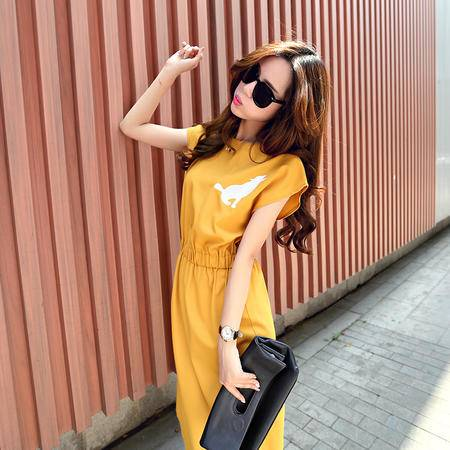 Mssefn2015夏新款韩版女装抽绳简约时尚连衣裙1206