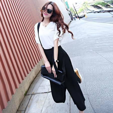 Mssefn2015夏装新款韩版女装泡泡袖上衣 背带裤两件套装816