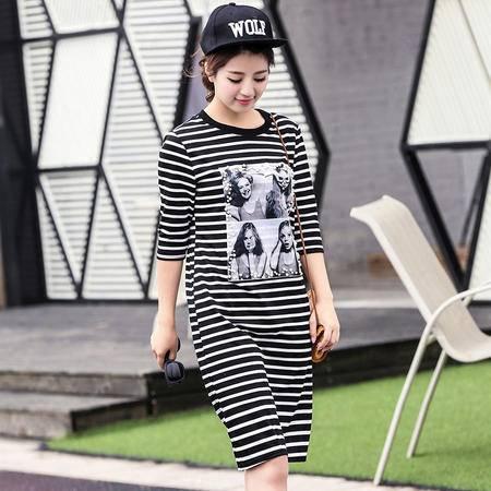 mssefn2015夏季新款时尚韩版女装女士短袖中长款T恤衫678P65