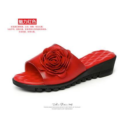 Mssefn2015高端 精品 真皮 套脚 大红新娘花朵一字凉拖女鞋WZ18-1570-2