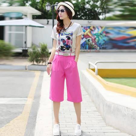 Mssefn2015新款休闲套装女 夏韩版修身时尚短袖印花雪纺衫五分阔腿裤721