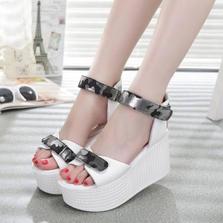Mssefn2015欧洲新品真皮松糕厚底女士拖鞋WZ30-3311
