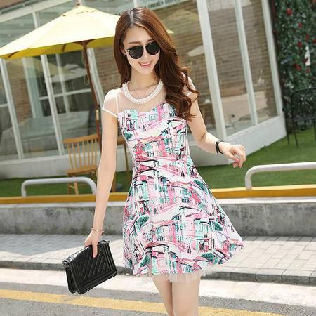 Mssefn2015新款短袖连衣裙复古印花网纱拼接棉麻G459
