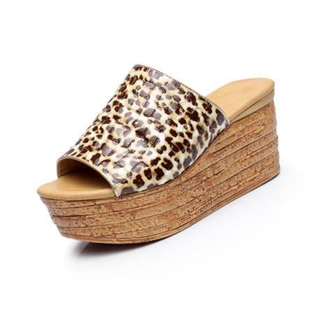 休闲奇葩2015夏装新款真皮 印花  松糕厚底 坡跟 女鞋 拖鞋 WZ30-5566